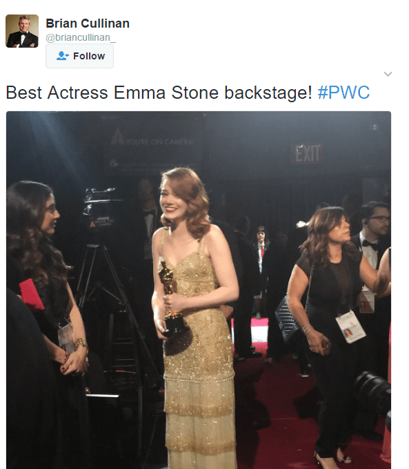 Brian Cullinan PwC Partner at Oscars Tweeted Backstage Minutes Before Best Picture Mix-Up