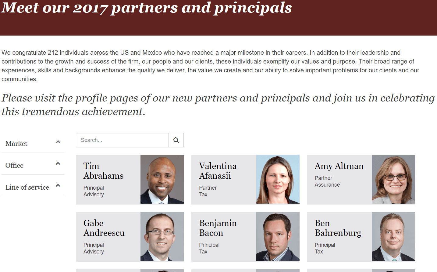 PwC New Partners (2017) * 212 New Partners and Principals